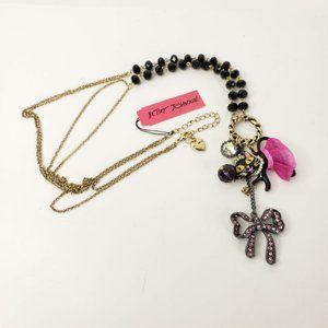 Betsey Johnson Charm Necklace Cat Bow Rhinestones